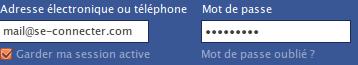 Adresse électronique ou téléphone et Mot de passe