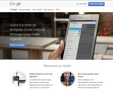 Aperçu du site officiel de gmail